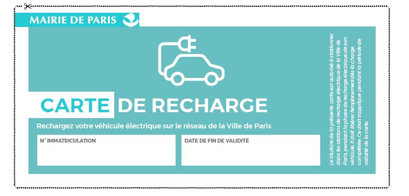 carte recharge véhicule électrique paris